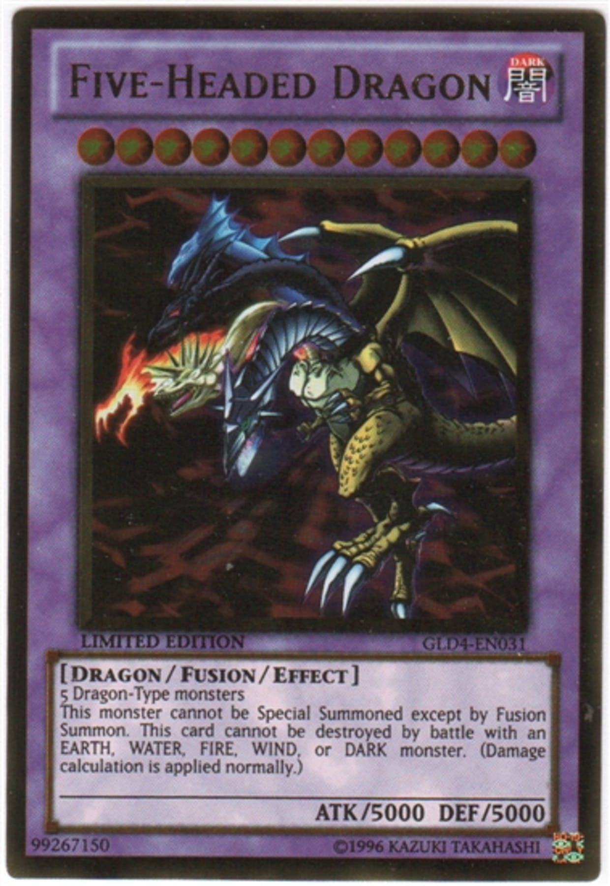 Yu-Gi-Oh Gold Series 4 Single Five-Headed Dragon | DA Card ... - photo#2