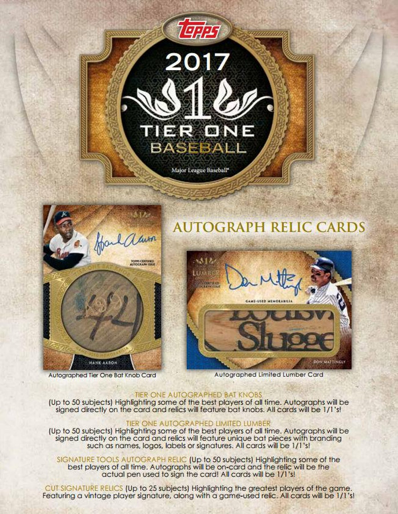 All cards on one card -  2017 Topps Tier One Baseball Hobby Box