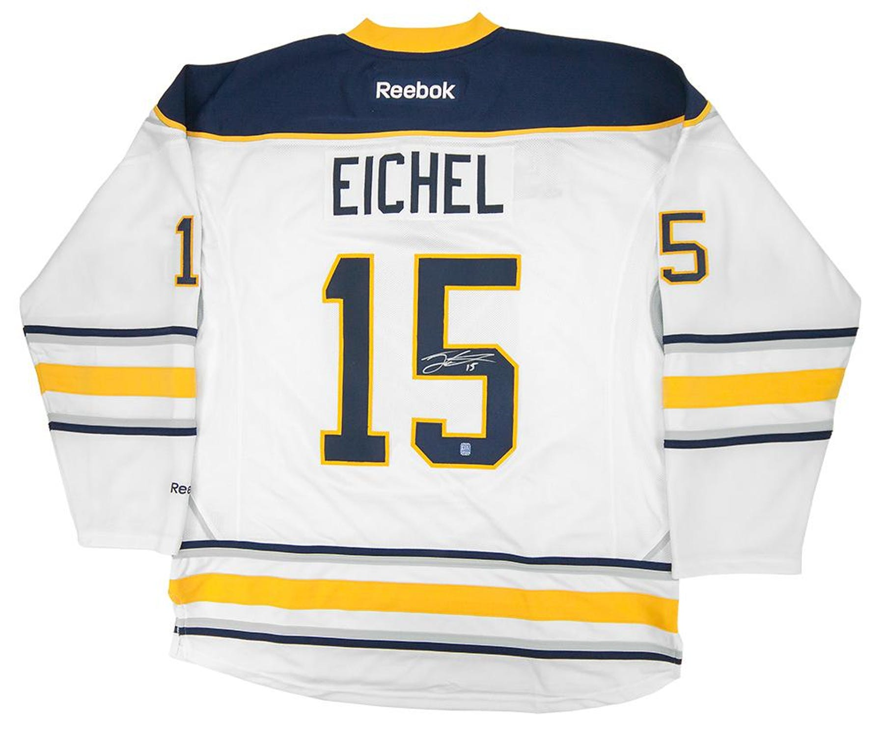 a8440fb7e ... Jack Eichel Autographed Buffalo Sabres XL White Hockey Jersey ...
